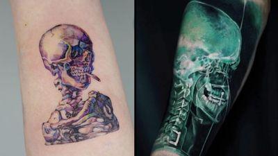 Skeleton tattoo on the left by Tattooer Manda and skeleton tattoo on the right by Yomico #Yomico #TattooerManda #skeletontattoos #skeletontattoo #skeleton #bones #skull #death #anatomy #anatomical
