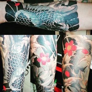 In process. 🙏 🙏 🙏 🙏 🙏🙏🙏🙏 #art #artwork #artist_community #tattoo #tattoos #tatuaje #tattooart #tattooartist #ink #inked #potn #potd #bangkok #udomsuk #asiantattoo #asianart  #covertattoo#irezumi #irezumi_collective #japanesetattoo #japaneseart #koi #koifish #sakura #sakuratattoo #krabi #railaybeach