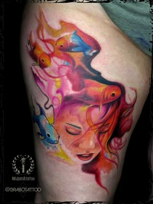 freehand abstract done couple weeks ago (placement : thigh) #girlwithfishes #girlfish #fishtattoo #girltattoo #underwatertattoo #abstracttattoo #inkubatortattoo #grabotattoo #bristoltattoo #bristol #inkmachines #intenzepride
