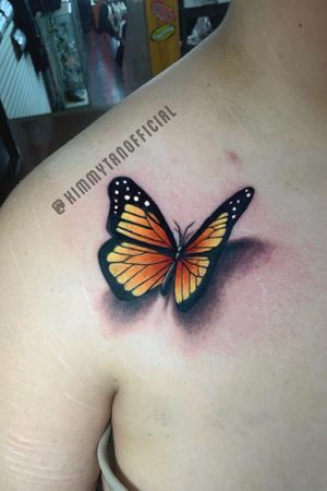 3D Butterfly tattoo by Kimmy Tan. NO FILTER/EDITS!! 2019. IG: KimmyTanOfficial