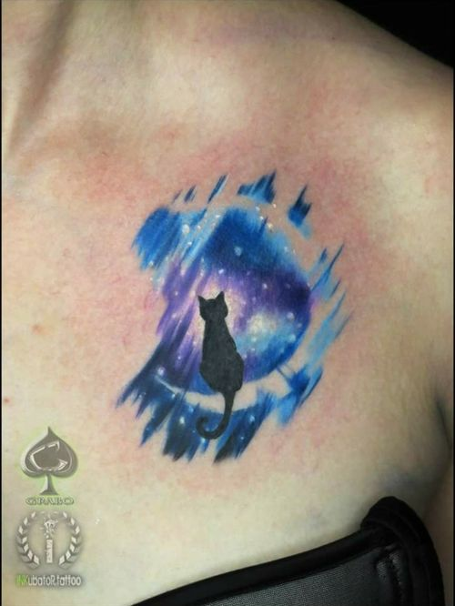 something small from yesterday :] cos malego ze wczoraj :] #spacecat #spacecattattoo #blackcattattoo #blackcat #catmoon #moonspace #grabo #grabotattoo #inkubatortattoo #inkmachines #intenzepride #bristol #bristoltattoo