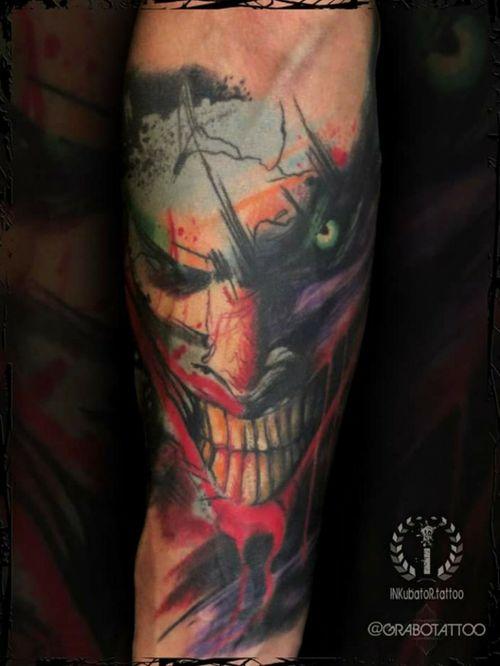 tattoo done and healed 1 year ago (tanned skin) photo done couple days ago #jokertattoo #abstractjoker #grabotattoo #inkubatortattoo #inkmachines #intenzepride #bristoltattoo