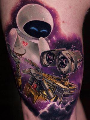 Best Tattoodo App tattoo by Steven Compton #StevenCompton #TattoodoApp #TattoodoApptattooartist #tattooartist #tattooart #tattooidea #inspiringtattoo #besttattoo #walle #disney #newschool #cute #arm #robot #heart