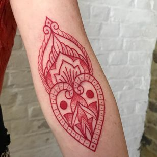 Ornamental tattoo by Courtney Lloyd #CourtneyLloyd #FemmeFatale #Traditionaltattoo #GirlyTraditional #Traditional #newschool #color #tattooartist #London #UK #ornamental #redink #linework #dotwork #pattern #arm