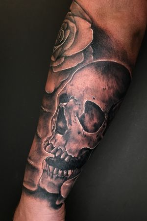 #skull #blackandgrey #realstic #sweettstattoos