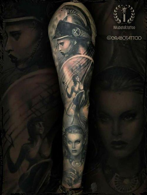 Greek goddess with a splash of music - 90% healed (I'll try to take better photo of this work) #greekgoddess #greekgoddesstattoo #greekmythology #selene #athena #eos #selenetattoo #athenatattoo #eostattoo #grabotattoo #inkubatortattoo #bristoltattoo #inkmachines #intenzepride