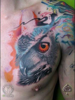 Mr. Owl (art on arm wasn't done by me) #Owltattoo #owl #owlabstract #abstractowltattoo #naturetattoo #chesttattoo #grabo #grabotattoo #inkubatortattoo #bristol #bristoltattoo #inkmachines #intenzepride