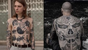 Torso tattoo by Ylitenzo on the left and back tattoo by Jondix on the right. #Jondix #Ylitenzo #torsotattoos #torso #bigtattoo #bigtattoos #bodysuit