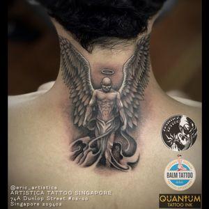 Fallen angel at the back of neck as requested by client. 🤘🏻 #tattoo #tattooed #tattoosocial #ilovetattoos #tattoolover #sgtattoo #singaporetattoo #dotwork #blackandgreytattoo #fallenangeltattoo #backnecktattoo #angeltattoo #artistica #artisticasingapore #artisticatattoo #ericartistica #ericlohtattoos #balmtattoo #balmtattoosg #balmtattooteamsg #balmtattooartist #balmtattoosingapore #dragonbloodbutter #quantumtattooink #quantumtattooink_sea #criticaltattoosupply #nedzrotary #stencilanchored