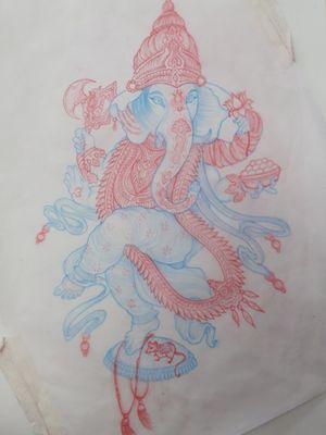 Beautiful Ganesh piece from my flash ready to be tattooed!!
