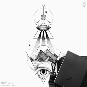 Among us. More ideas on Instagram (the_rawflow) or get all my available designs from www.rawaf.shop #dotwork #blackwork #geometric #ufo #black #blackandgrey #nature