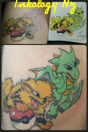 adding to this pokemon thigh piece. #pokemon healed arcanine from last month and #scyther freshly inked. cant wait to add another pokemon in a few weeks. #pokemontattoos #sleeveinprogress #thightattoo #cartoontattoo #pokemontattoo #scyther #arcanine #pokeballtattoo #pokeball #fullcolortattoo #fullcolor