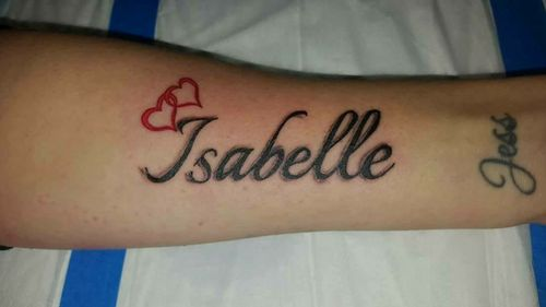 Designed & tattooed by Paul Weston. My daughter's name - Isabelle. Done at my house.