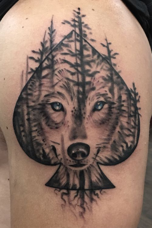 Wolf face and forest