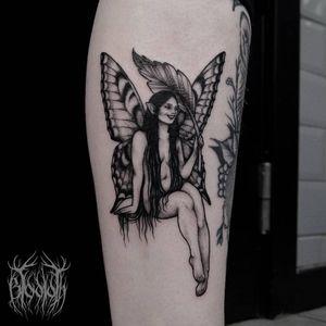 Fairy tattoo by Zuzanna Krolick #ZuzannaKrolick #fairytattoo #fairytattoos #fairy #wings #magic #folklore #fairytale #blackwork #leaf #lady #cute #illustrative #leg