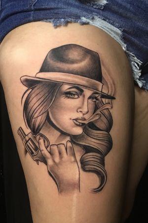 Black and grey gangster girl tattoo neotrad philadelphia
