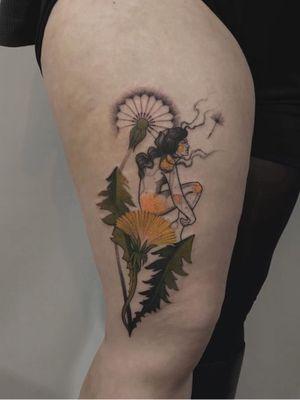 Fairy tattoo by Michalina Bolach #MichalinaBolach #fairytattoo #fairytattoos #fairy #wings #magic #folklore #fairytale #color #flower #floral #leaves #dandelion #illustrative #leg