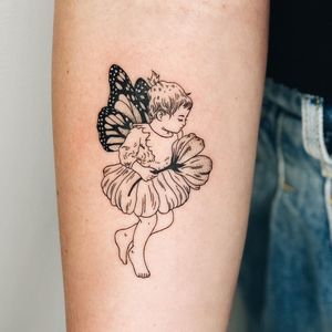 Fairy tattoo by Leah Samuels #LeahSamuels #fairytattoo #fairytattoos #fairy #wings #magic #folklore #fairytale #illustrative #linework #vintage #flower #floral #arm