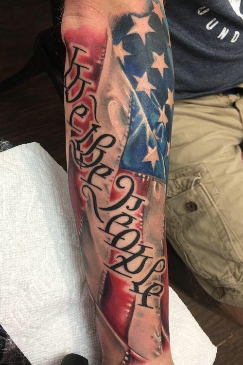 American flag we the people lower sleeve