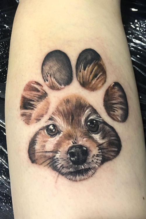 Realistic color dog portrait in pawprint