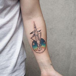 Saturn 5 rocket . . . #tattoo #abstract #watercolor #barisyesilbas #newyork #art #fineline #love #tattoos #like #sketch #tattoooftheday #taot #tattoodo