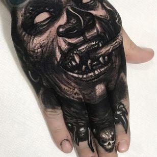 Horror tattoo by Brandon Herrera #BrandonHerrera #darkart #horrortattoo #horror #darkarttattoo #darkness #evil #wicked #satanic #demonic #dark #hand #blackandgrey #demon #monster