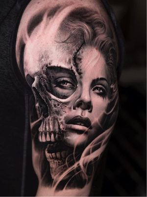 Dark art tattoo by Jose Contreras aka joseecd #JoseContreras #Joseecd #darkart #horrortattoo #horror #darkarttattoo #darkness #evil #wicked #satanic #demonic #dark #realism #skull #lady #portrait #smoke #blackandgrey #arm