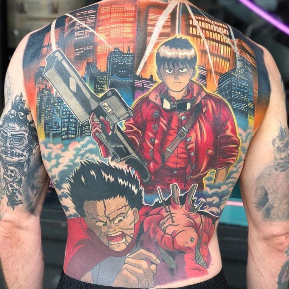 Akira tattoo by Kimberly Wall #KimberlyWall #otaku #otakutattoo #animetattoo #mangatattoo #anime #manga #Japanese #newschool #Japaneseinspired #movies #comics #videogame #nerdculture #akira #backpiece #backtattoo