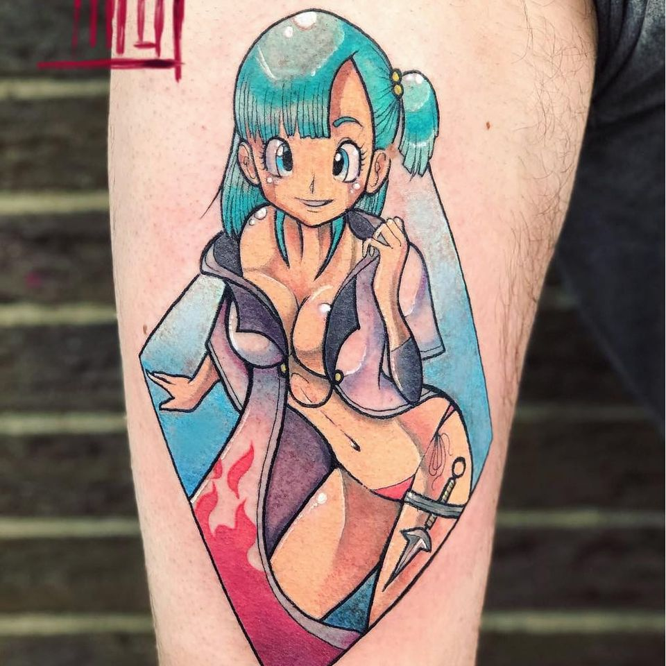Crossover 3.0 - Bulma & Minato tattoo by Mina Boo Tattoo #MinaBoo #MinaBooTattoo #otaku #otakutattoo #animetattoo #mangatattoo #anime #manga #Japanese #newschool #Japaneseinspired #movies #comics #videogame #Dragonballz #leg #bulma
