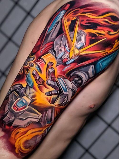 Gundam tattoo by Hori Benny #HoriBenny #otaku #otakutattoo #animetattoo #mangatattoo #anime #manga #Japanese #newschool #Japaneseinspired #movies #comics #videogame #nerdculture #gundam #arm