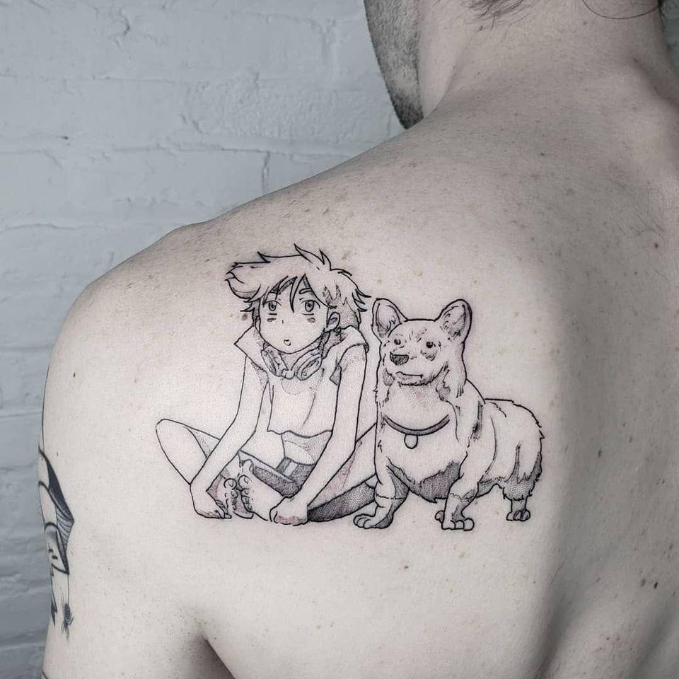 Cowboy Bebop: Ed and Ein tattoo by Savshimi #Savshimi #otaku #otakutattoo #animetattoo #mangatattoo #anime #manga #Japanese #newschool #Japaneseinspired #movies #comics #videogame #cowboybebop #ed #ein #back #illustrative