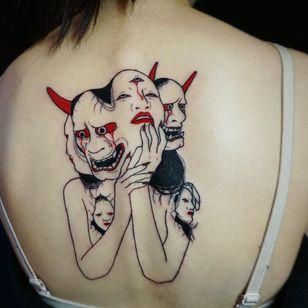 Dark art tattoo by Suzani #Suzani #darkart #horrortattoo #horror #darkarttattoo #darkness #evil #wicked #satanic #demonic #dark #back #illustrative #hannya #surreal #surrealism #backpiece