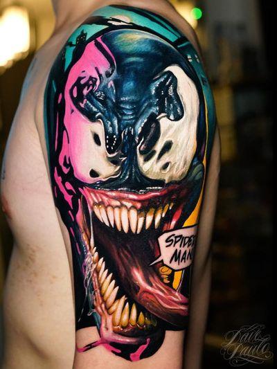 Dark art tattoo by Dave Paulo #DavePaulo #darkart #horrortattoo #horror #darkarttattoo #darkness #evil #wicked #satanic #demonic #dark #color #spiderman #venom #realism #realistic #surrealism #monster