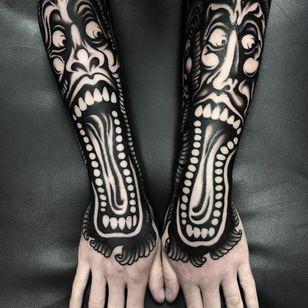 Dark art tattoo by Ruco #Ruco #darkart #horrortattoo #horror #darkarttattoo #darkness #evil #wicked #satanic #demonic #dark #blackwork #monster #hand #arm #spirits