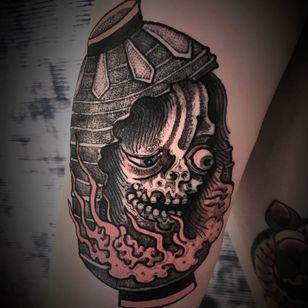 Dark art yokai tattoo by Bang Ganji #BangGanji #darkart #horrortattoo #horror #darkarttattoo #darkness #evil #wicked #satanic #demonic #dark #yokai #japanese #illustrative #arm