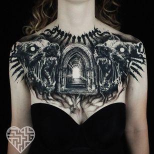 Horror tattoo by Jacob Crowder #JacobCrowder #darkart #horrortattoo #horror #darkarttattoo #darkness #evil #wicked #satanic #demonic #dark #door #wolves #wolf #blackwork #illustrative #realism #lettering