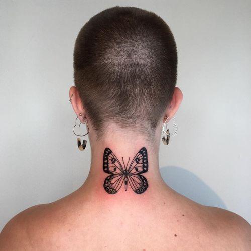 Butterfly tattoo by Pied Poppy #PiedPoppy #butterflytattoo #butterflytattoos #butterfly #moth #wings #insect #nature #linework #blackwork #minimal #neck