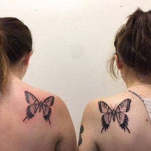 Butterfly tattoo by Nina Chwelos #NinaChwelos #butterflytattoo #butterflytattoos #butterfly #moth #wings #insect #nature #matching #friendtattoo #coupletattoo #linework #matchingtattoo #shoulder #blackandgrey #illustrative