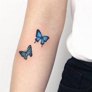 Butterfly tattoo by SooSoo #SooSoo #butterflytattoo #butterflytattoos #butterfly #moth #wings #insect #nature #blue #tiny #small #pretty #cute #arm