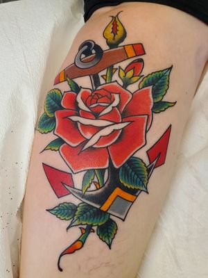 Traditional rose and anchor