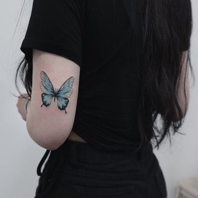 Butterfly tattoo by Ludy Tattoo #LudyTattoo #butterflytattoo #butterflytattoos #butterfly #moth #wings #insect #nature #blue #arm #pretty #cute