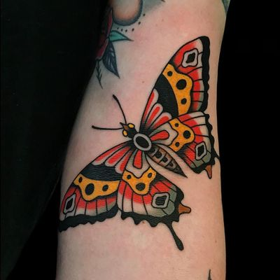 Butterfly tattoo by Alex Zampirri #AlexZampirri #butterflytattoo #butterflytattoos #butterfly #moth #wings #insect #nature #traditional #color #arm