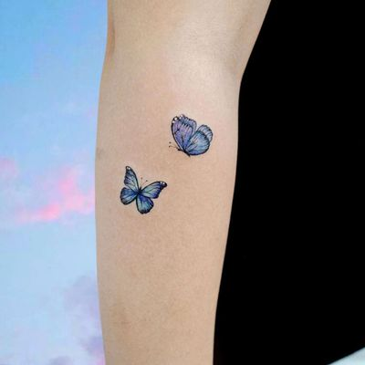 Butterfly tattoo by Song E Tattoo #SongETattoo #butterflytattoo #butterflytattoos #butterfly #moth #wings #insect #nature #blue #tiny #mini #small #arm #cute #pretty
