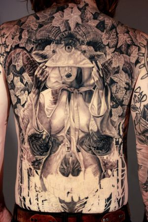 #backpiece #inprogress #blackmagic #priestess #witch #evil #goathead #sacrilegious #alter #ivy #ritual in #LongBeach
