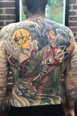 Kitsune backpiece #kitsune #geisha #bamboo #moon #sun #smoke #tattoodo #inkjecta #wearesorrymom #killerinktattoo #irezumi #japanese #japanesetattoo #irezumiart