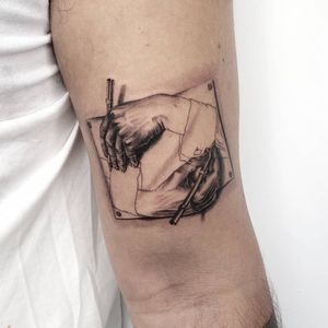 MC Escher tattoo by Goldy Z #GoldyZ #TattoodoApp #TattoodoApptattooartist #tattooartist #tattooart #tattooidea #inspiringtattoo #besttattoo #realism #realistic #illustrative #hand #pen #drawing #surreal #mcescher