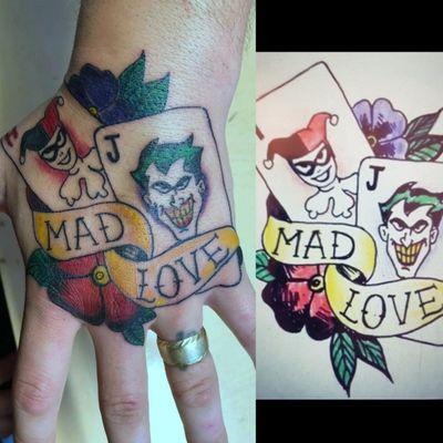Traditional Style Joker & Harley Quinn Hand Tattoo #TraditionalStyle #Trad #TradTattoo #TraditionalTattoo #Joker #JokerTattoo #HarleyQuinn #HarleyQuinnTattoo #HandTattoo