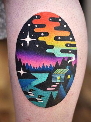 Landscape tattoo by David Peyote #DavidCote #DavidPeyote #TattoodoApp #TattoodoApptattooartist #tattooartist #tattooart #tattooidea #inspiringtattoo #besttattoo #color #surreal #landscape #cabin #duck #rainbow #leg