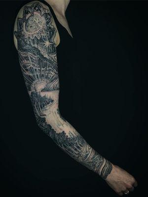 Sleeve tattoo by Noelle Longhaul #NoelleLonghaul #TattoodoApp #TattoodoApptattooartist #tattooartist #tattooart #tattooidea #inspiringtattoo #besttattoo #sleeve #landscape #forest #river #moon #illustrative #magic #arm