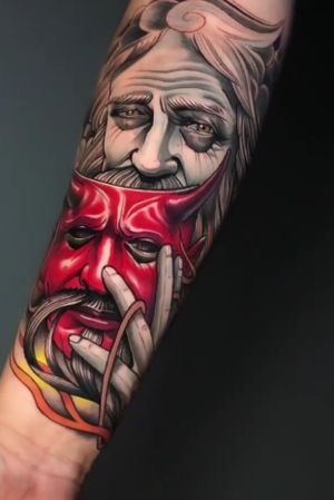 God removing his mask. Done by DJ @ Branded Tattoo.